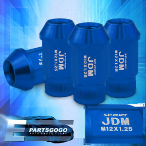 Jdm Sport 4pc M12x1 25mm Pitch Thread Blue Lug Nuts Open Ended Alloy Steel Set