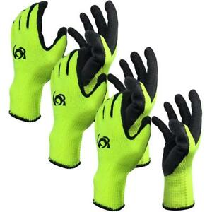 Work Gloves Knit Latex Coated Insulation Large Size Non slip set Of 3 Pairs
