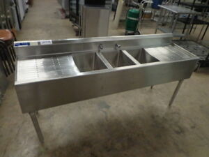 Universal 72 3 Compartment Commercial Stainless Steel Sink W 2 Drainboards Nsf