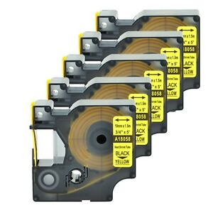 5 Heat Shrink Tube Label Ind Tape Black On Yellow 18058 For Dymo Rhino 5200 3 4
