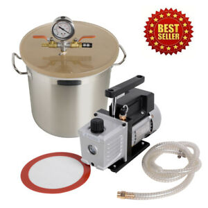 5gallon Stainless Steel Vacuum Chamber Kit Stage 3 Cfm Pumps Usa Stock Hose