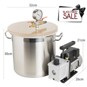 New Style Stainless Steel Vacuum Degassing Chamber Kit 3cfm Vacuum Pump