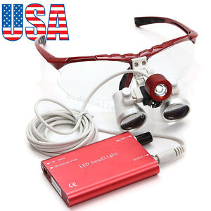 Ce Red Dental Surgical Loupes 3 5x 420mm Optical Glass Led Head Light Lamp Kit