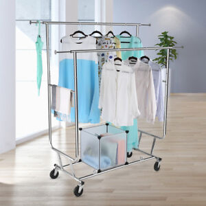 Collapsible Adjustable Double Rail Rolling Garment Clothing Drying Hanging Rack