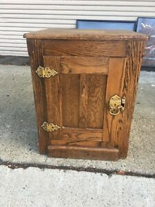 Oak Cabinet Antique Replica Of Old Ice Box With Brass Hardware