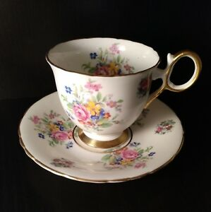 Vintage Delphine Bone China Floral Tea Cup Saucer Set England 1930s