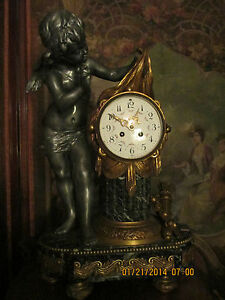 Antique French Figural Putti Statue Bronze Iron Finish Metal Marble Mantel Clock
