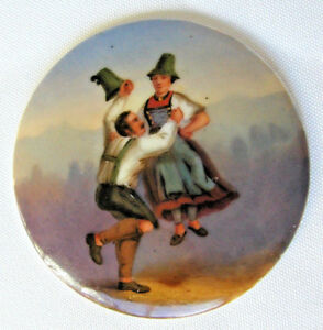 Antique Hand Painted Porcelain Medallion Couple Woman Floating