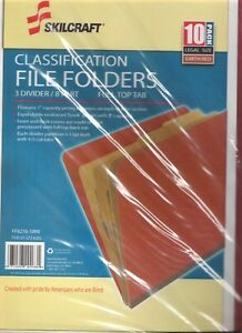 Skilcraft Classification File Folders Legal Size Earth Red 10 Pack 3 Divider