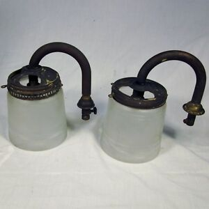 Pair Of Antique Brass Gas Lights With Glass Shades Wall Sconce Lamp Valve Parts