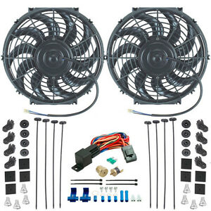 Dual 12 Inch Electric Radiator Cooling Fan s 1 4 Npt Probe Thermostat Kit New