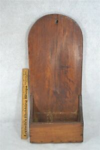 Wall Box Tombstone Back Early 19th C Pine Hand Made Scrub Scour Antique 1800s