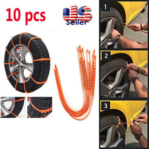 10 Pcs Snow Tire Chain Anti Skid Emergency Winter Driving For Auto Car Truck Suv
