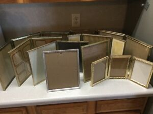 9 Vintage Etched Gold Tone Metal Picture Frame Lot Double Triple Hinged Single