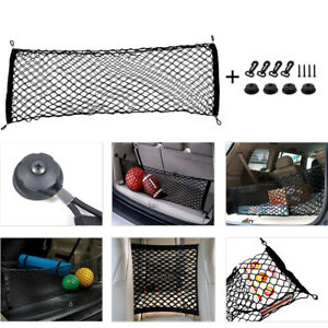 Car Trunk Cargo Organizer Storage Elastic Mesh Net Holder 4 Hooks Nylon