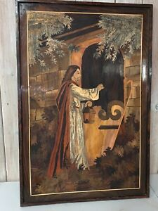 Handmade Large Marquetry Wood Inlay Art Wall Hanging Jesus Art