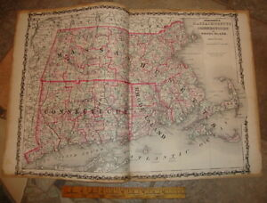 1863 Original Massachusetts Connecticut Rhode Island Large Johnson Antique Map