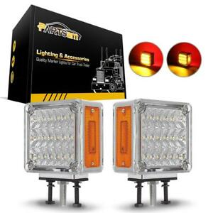 2x Clear amber red Pearl Square Double Face 39 Led Pedestal Lights Truck Trailer