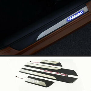 Fit For Honda Civic 2016 2018 Led Illuminated Door Sill Scuff Plate Guard 4pcs