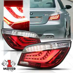 Red Clear Tron Led Bar Neon Tail Light Brake Lamp For 04 07 Bmw E60 E61 5 Series