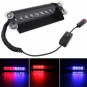 Red And Blue 8 Led Car Strobe Light Flash Emergency Police Warning Safety Lamps