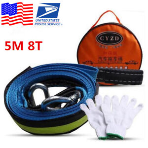 8 Tons 5m Car Tow Cable Towing Strap Rope With Hooks Emergency Heavy Duty 16 Ft