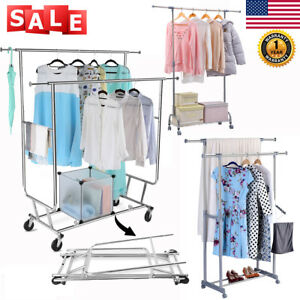 Adjustable Rolling Garment Rack Heavy Duty Clothes Hanger Portable 1 2 Rail Rack