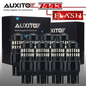 Auxito 7443 7440 Red Flash Strobe Blinking Brake Tail Stop Led Light Bulbs 8pcs