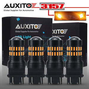 Auxito 4pcs 3157 4157 4057 Led Amber Yellow Turn Signal Blinker Light Led Bulb