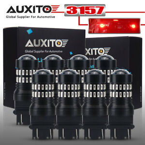 Auxito 8pcs 3157 3156 Turn Signal Brake Tail Light Bulb Super Pure Red Led Bulbs