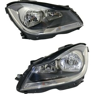 Headlight Set For 2012 2015 Mercedes Benz C250 Left And Right Black Housing Capa