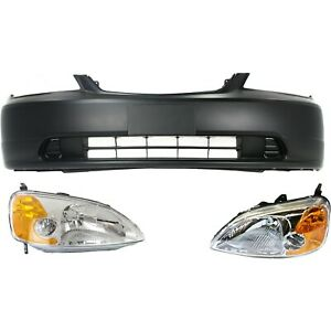 Bumper Cover Kit For 2001 2003 Honda Civic Front 2 Door Coupe 3 Pc