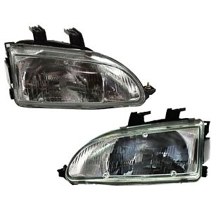Halogen Headlight Set For 1992 1995 Honda Civic Left Right W Bulbs Pair