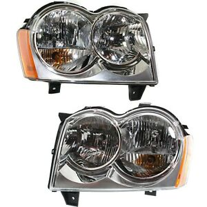 Headlight Set For 2005 2006 2007 Jeep Grand Cherokee Left And Right Capa 2pc