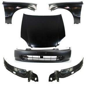 Bumper Cover Kit For 96 98 Honda Civic Front With License Plate Provision 6pc