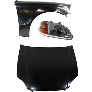 Hood Kit For 96 98 Honda Civic 3pc With Headlight And Fender