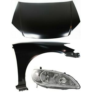 Hood Kit For 2004 2005 Honda Civic 3pc With Headlight And Fender
