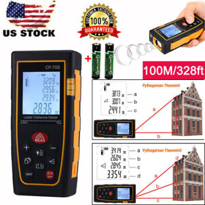 Professional 100m 328ft Digital Lcd Laser Distance Meter Range Finder Measure Us