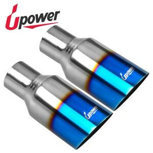 1 Pair 2 5 inlet 4 outlet 9 long Blue Burnt Exhaust Tip Polished Stainless Steel