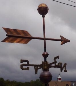 Hand Made Arrow Ball Copper Weathervane As Shown No Roof Mount