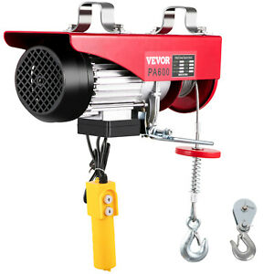 1320lbs Electric Hoist Winch Lifting Engine Crane Steel Ceiling Pulley Brackets