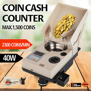 Automatic Coin Sorter Electronic Coin Counting Machine Quarters 110v Bank Pro