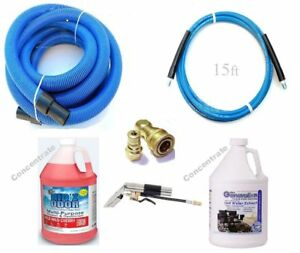 Carpet Cleaning 15ft Hoses Super Concentrate Chemical Detail Tool Combo