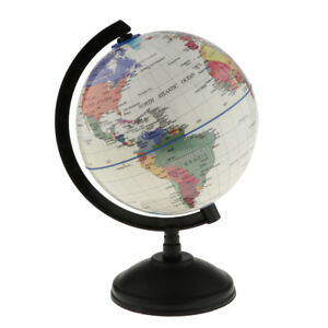 World Globe Earth Ocean Atlas Map Rotate Stand Kids School Geography White