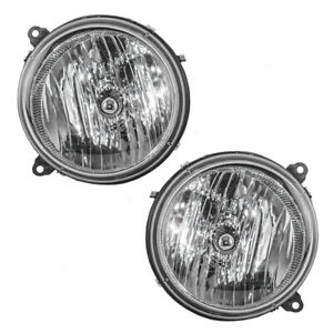 New Pair Set Headlights Headlamps Lens Housing Assembly For 05 07 Jeep Liberty