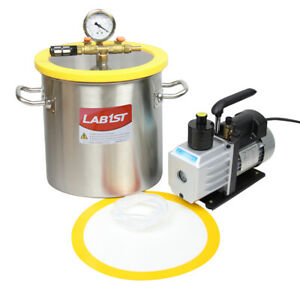 3 Gallon Stainless Steel Degassing Vacuum Chamber 5cfm Vacuum Pump From Usa
