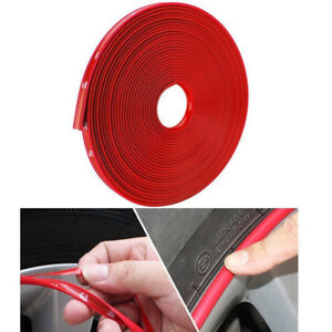 26ft Red Auto Wheel Hub Rim Trim Guard Protector Rubber Strip For Universal Car
