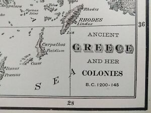 Vintage 1901 Greece Topographical Map Old Antique Historical Athens Crete Mapz