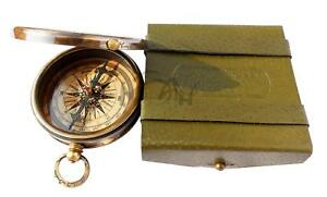 Robert Frost Poem Engraved Brass Compass Embossed Needle W Leather Case Brass