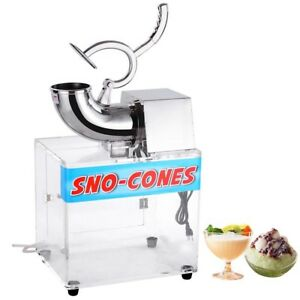 250w Electric Snow Cone Ice Shaved Machine With Acrylic Case 110v 440 Lbs hr
